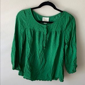 Anthropologie Maeve Green Blouse